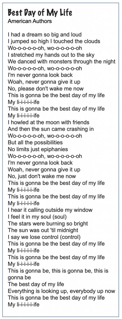 Best Day of my Life lyrics