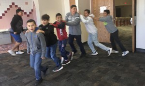 Students take a brain break during testing.