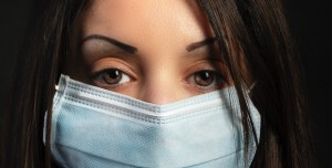 Face with eyes and surgical mask